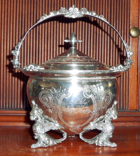 Rare C. 1860 American Coin Silver Covered Bowl w/ Griffin Feet ~ Gorham ~