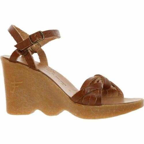 FAMOLARE 'Strappy Days' Cognac Leather Wedges Sandals rrp £190