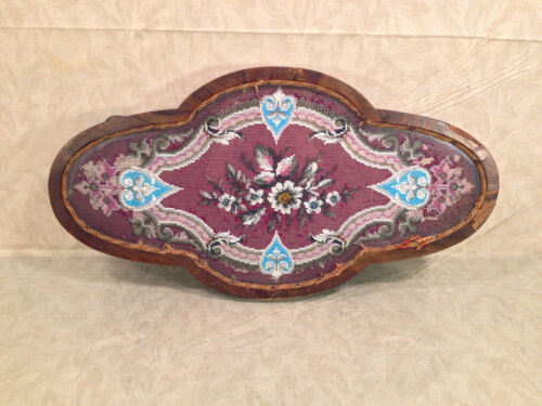 Antique Wooden Center Piece with Veneer Inlay Glass and Embroidery Bead Design