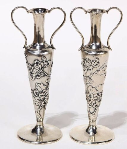 Chinese Expert silver vases.  Two Chinese character mark.  19/20 Century