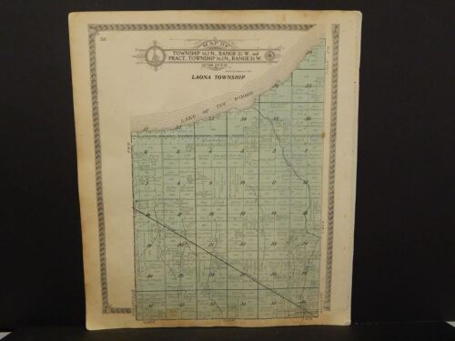 Minnesota Roseau County Map Laona or Oaks Township Dbl Side 1913 J13#48