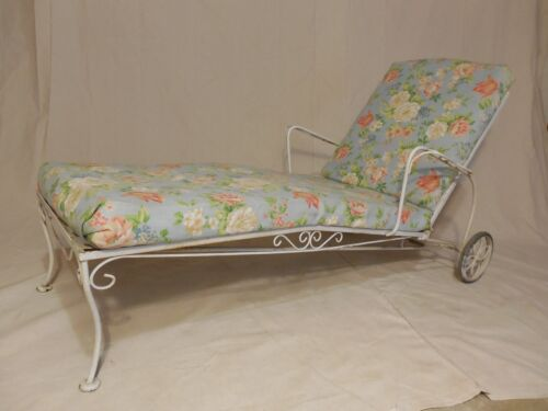 Vintage Wrought Iron Russel Woodard Style Chaise Lounge