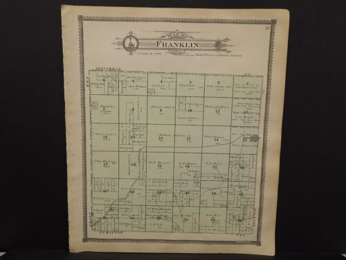 Michigan Clare County Map Franklin Township c.1905    J14#22