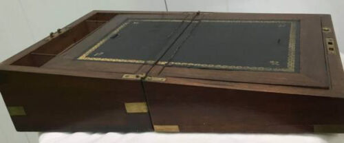 ANTIQUE VICTORIAN 19TH C. ENGLISH MAHOGANY WRITING SLOPE LAP DESK / DOCUMENT BOX