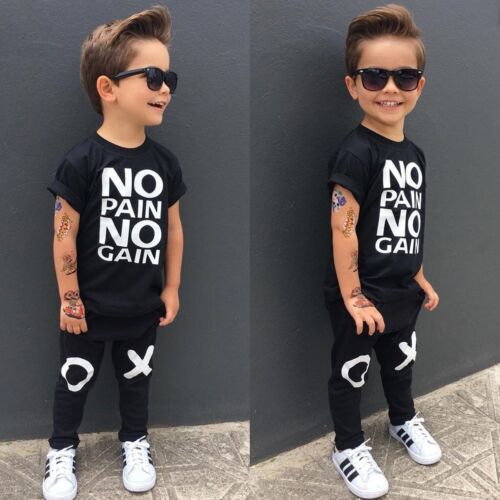 Toddler Kids Baby Boys Summer Casual Clothes T-shirt Tops+Pants Outfits 2pcs Set