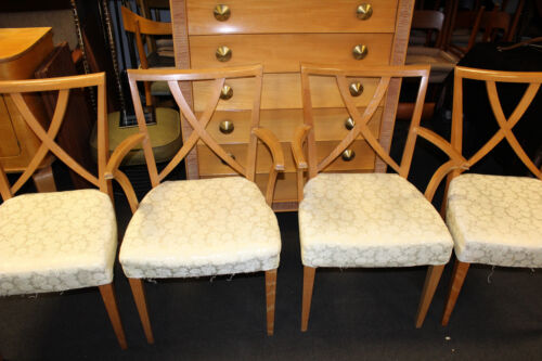 VINTAGE PAUL FRANKL SET OF 4 BROWN SALTMAN DINING CHAIRS MID CENTURY