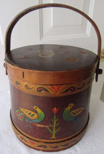 VINTAGE PAINTED SUGAR BUCKET FIRKIN PENNSYLVANIA DUTCH PRIMITIVE COUNTRY SIGNED