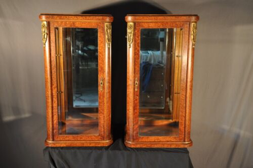 French Burl Wood Mirrored Display Cabinets With Ormolu Mounts
