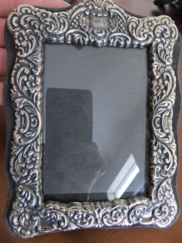Antique Victorian Sterling Plated Repousse Small size  Floral Photo Frame