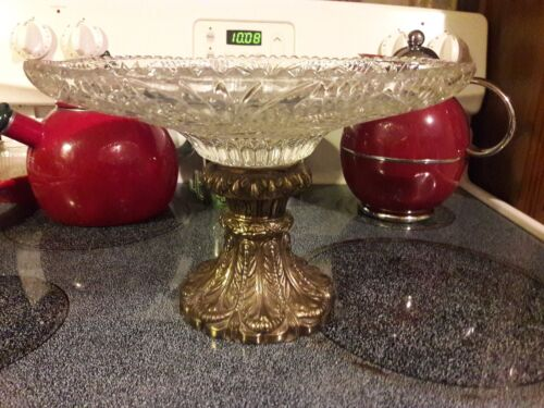 Compote Pedestal  Cut/Crystal Glass Bowl/Plate   Brass /Cast Metal Base 11.5 W