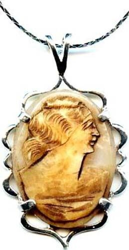 Antique 1850's Italian Italy Hand Carved Torre Del Greco Sea Shell Cameo Silver