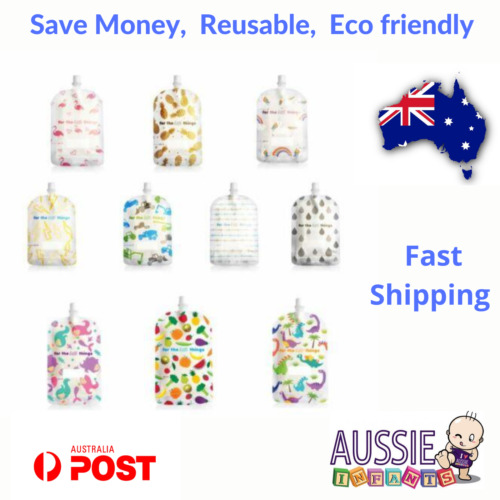 NEW Sinchies Baby Food Reusable Squeeze Pouches Refillable Bag 5 Pack 150ml Kids <br/> New styles - mermaid, dinosaur + more styles to choose