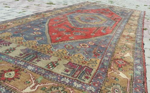 Bohemian Antique Cr1930-1939s Wool Pile Natural Color Area Rug 5x9ft