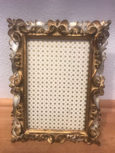 ITALIAN GILT GESSO VINTAGE PICTURE FRAME ORNATE 7.75 x 5 3/4 WOOD GLASS