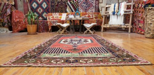 """Sweet  Vintage Dated 1988's  Natural Dye Tribal Area  Rug  3'9"""" x 8'3"""""""