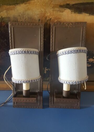 "Mclean Lighting 2 Wall Sconces Blue Shades 12"" Vintage Antique"