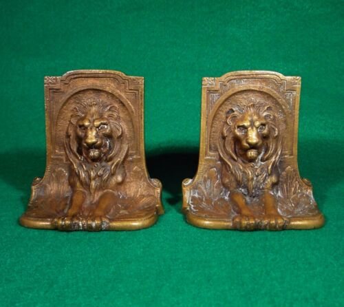 GORGEOUS PAIR OF ANTIQUE BRONZE LION BOOKENDS~SIGNED~ORIGINAL DETAILED CASTING
