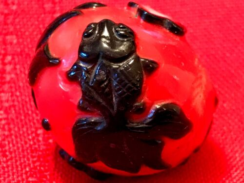 """LARGE KOI FISH 3""""/76.2MM ANTIQUE HAND CARVED CHINESE IMPERIAL PEKING GLASS BEAD"""