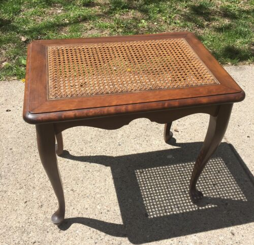 Vintage Antique  French Provincial Mahogany Cane Top Side Table