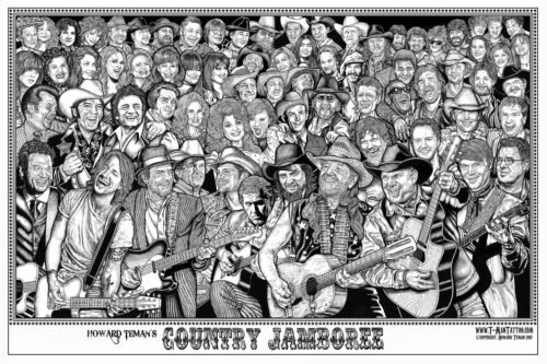 COUNTRY JAMBOREE - HOWARD TEMAN ART POSTER 22x34 - MUSIC COLLAGE 819