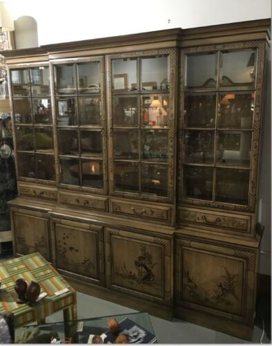 VTG Chinoiserie Breakfront w/ Hidden Desk - Union National Furniture  Wall Unit