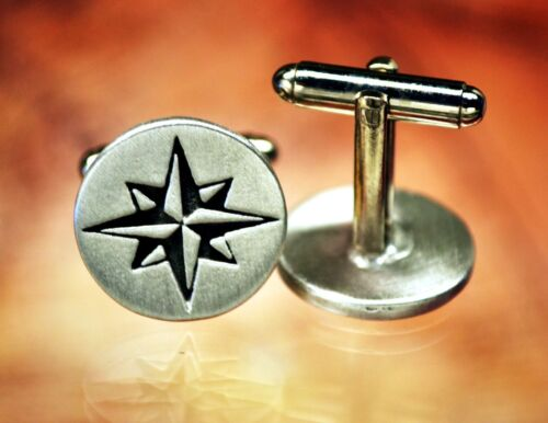 Compass Rose Pewter Cufflinks -Nautical/Travel/Handcrafted #1241