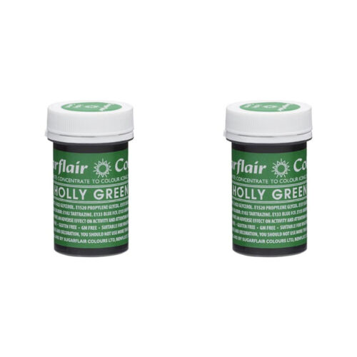 2 x Sugarflair 25g Holly Green Spectral Paste Gel Edible Food Colour Cake Icing
