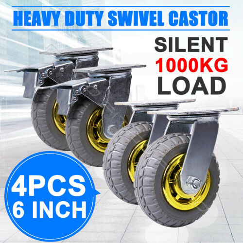 """4X 6"""" / 150mm Heavy Duty Swivel Caster Wheels Castor 1000KG Load,2 with Brakes <br/> 800+ SOLD / SYDNEY STOCK, SAME DAY POST"""