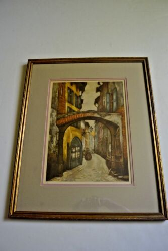 Original engraving of a european street scene, framed, signed and numbered