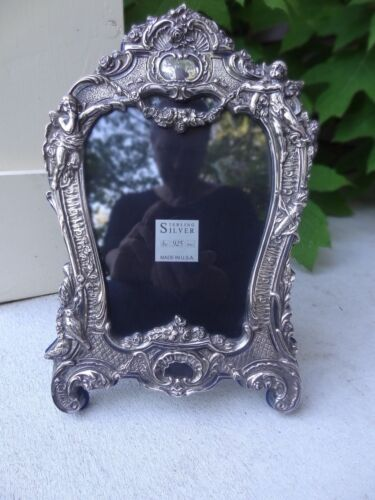Ornate Antique Angels Cherubs Sterling JR 925 Silver Picture/Photo Frame Angles