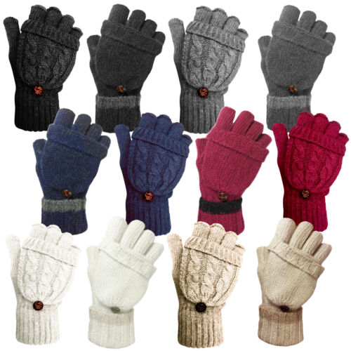 LADIES WOMENS CABLE KNIT SOFT WARM WINTER WOOL BLEND FINGERLESS GLOVES MITTENS
