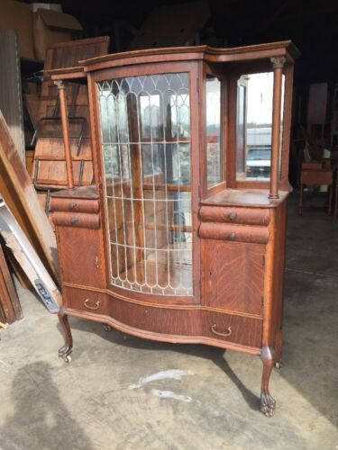 Antique Oak China Cabinet Leaded Glass Door Beveled Mirrors