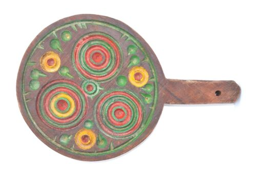 PRIMITIVE FOLK ART HAND PAINTED SMALL WOODEN CUTTING/CHOPPING BOARD W. HANDLE