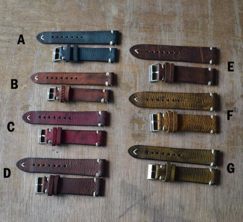 StrapsCo 18 20 22 24mm Vintage Style Distressed Leather Mens Watch Band Strap
