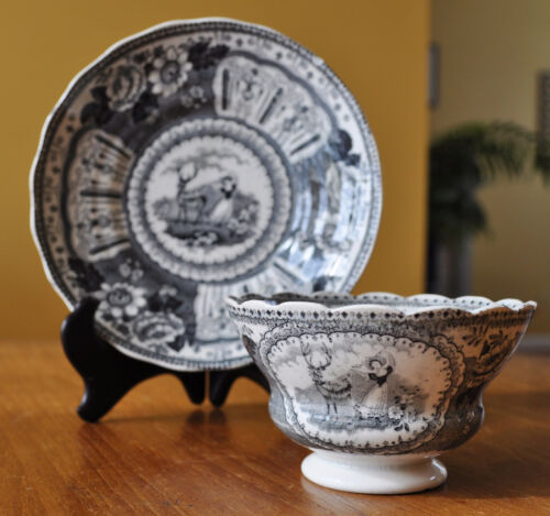 Rare Antique Staffordshire Transferware Pearlware Cup & Saucer Girl & Deer Mayer