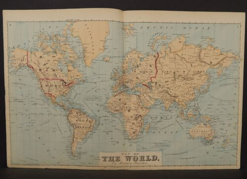 The World Map 1876 Double Page !W9#76