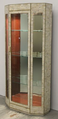 Tessellated Stone Display Cabinet Vitrine Showcase by Maitland Smith, 1980's