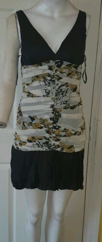 Ladies Black White and mustard Striped Sleeveless Dress Size m designed by Aggie