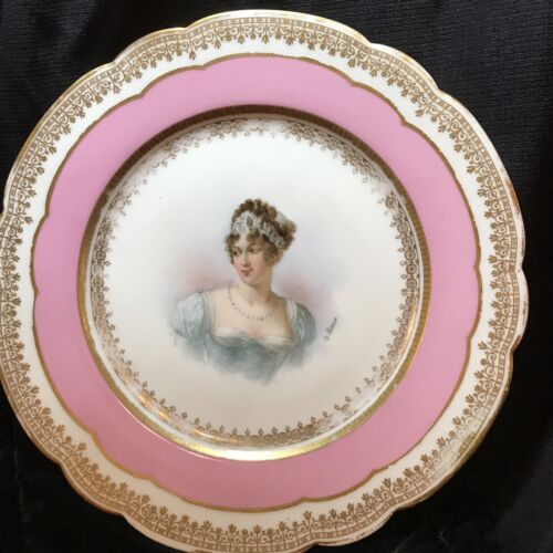 "Sevres Chateau Des Tuileries Caroline Murat 8 3/4"" Plate ~ SIGNED O. Brun"