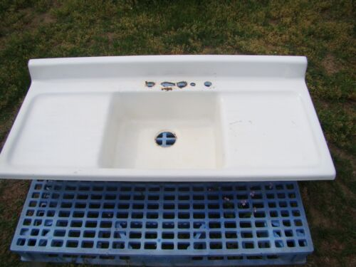 """Vintage 54"""" Cast Iron Kitchen Sink with Double Drainboard Farmhouse Sink"""