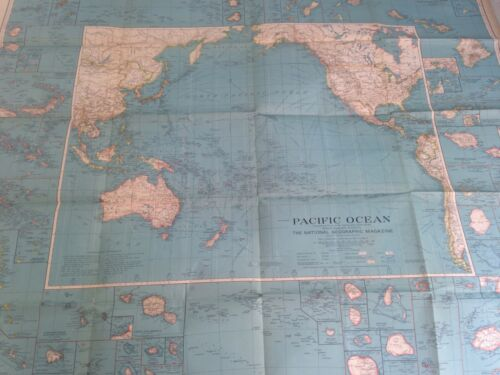 PACIFIC OCEAN MAP 1936 THE NATIONAL GEOGRAPHIC MAGAZINE