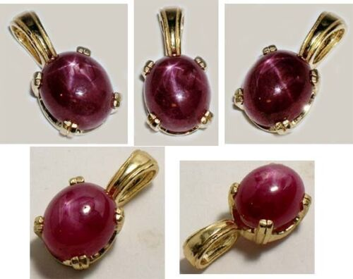 Antique 19thC 5½ct Star Ruby Medieval Shaman Divination Gemstone 14kt Pendant