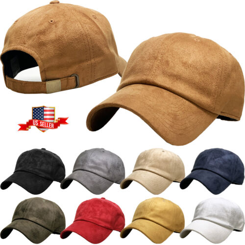 6 Panel Suede Dad Hat Baseball Classic Adjustable Soft Plain Cap