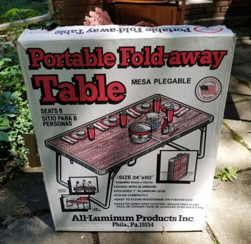 VINTAGE ALL-LUMINUM PORTABLE FOLDING TABLE FOLD-AWAY TABLE FOLDING CAMPING TABLE