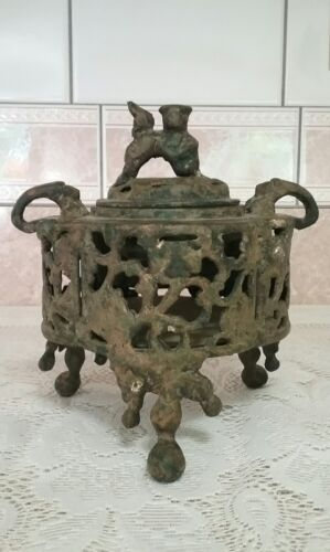 Japanese Iron Incense Burner, Foo Dog Lid, And Handles Raised Stamp on Base OLD