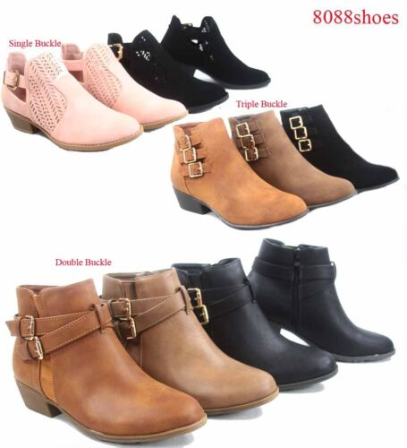 Women's Buckles Almond Toe Low Heel Western Ankle Booties Shoes Size 5 - 10 NEW