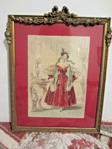Vintage Barbola gesso Frame Victorian FRENCH Print Roses Bows & Swags antique
