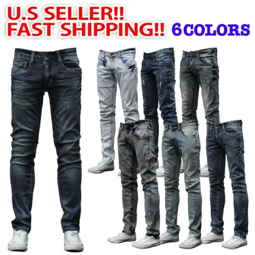 MEN Jeans Slim STRETCH FIT SLIM FIT Trousers Casual Pants SKINNY RIPPED JEAN