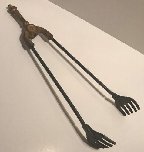 """Antique Brass Tone Handle Cast Iron Fireplace Tongs Tool 17"""""""