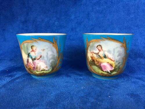 Antique Pair Of Sevres Demi Cup